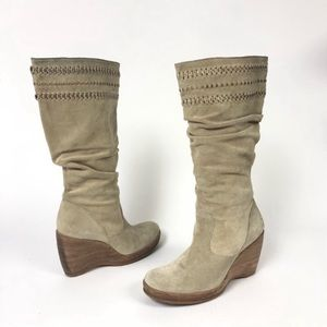 Gianni bini wedge platform suede weave boots 8M